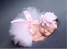 Newborn Headdress flower+Tutu Clothes Skirt Baby Girls Photo Prop Outfits E1& #Handmade