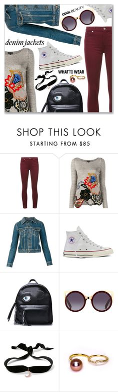 """""""Denim Trend: Jean Jackets"""" by dressedbyrose ❤ liked on Polyvore featuring 7 For All Mankind, Etro, Yves Saint Laurent, Converse, Aamaya by Priyanka, denim, jeanjackets, denimjackets and falldenimtrend"""