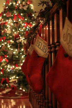 Believe, 8X12 Fine Art Print, Christmas, magical, tree, lights, bokeh, sparkle, stockings, red, green, holiday decor by BeckyMcCreary, $30.00
