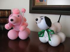 These are so cute!  Make your own pet with golf balls (and a tee for the tail)
