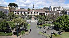 View of the Plaza Grande taken from the upstairs balcony of the Presidential Palace in Quito Ecuador.