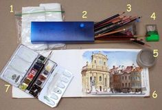 Watercolor kit includes: 1. paper towels, 2. pencil box, 3. water-soluble colored pencils, 4. sharpener, 5. water container, 6. watercolor sketchbook, 7. small half-pan kit.