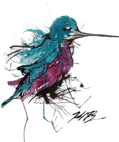 Humming bird art. love the colors and the crazy scribble