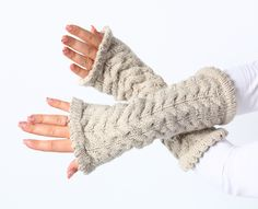 Arm warmers - Light beige from MioLBoutique by DaWanda.com