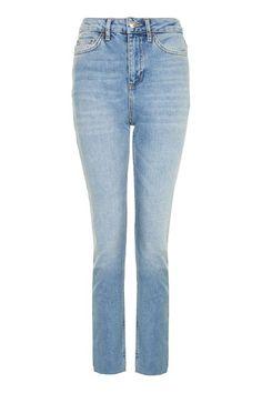 MOTO Blue Raw Hem Straight Leg Jeans