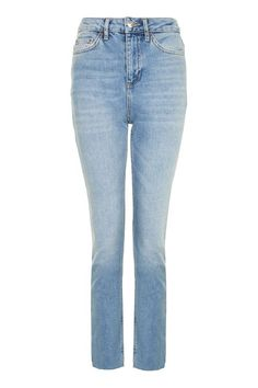 MOTO Blue Raw Hem Straight Leg Jeans