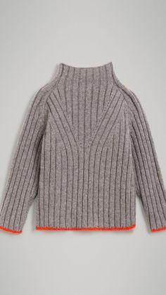 メリノウールブレンド タートルネック セーター (ミッドグレー) - ガール | バーバリー アメリカ合衆国