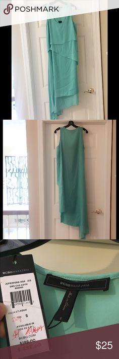 BCBG Maxazria - asymmetrical dress Brand new! Never worn. Asymmetrical dress. Color: LT Aqua BCBGMaxAzria Dresses Asymmetrical