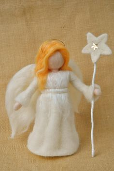Guardian Angel Waldorf inspired needle felted van MagicWool op Etsy