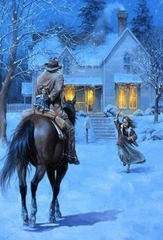 The Homecoming - The Old West Art of Jack Sorenson Western Christmas, Country Christmas, Christmas Scenes, Christmas Art, Winter Szenen, Winter Blue, Art Occidental, West Art, Cowboy Art