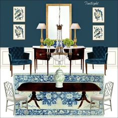 Hi Everyone,Tuesday night's post looked at 12 classic dining tables. And, as promised, we are going to look at numerous dining chair and table combinations.It's one of those things that we're cautioned not to make the dining chairs and table too Dining Room Console, Dining Room Blue, Dining Room Design, Dining Room Chairs, Antique Dining Rooms, Casual Dining Rooms, Traditional Dining Rooms, Home Furnishings, Furniture Design