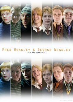 Fred and George, they are identical <3 (Although, I hope the top row isn't meant to be all George as some of them are clearly Fred and the same for the bottom row! But hey maybe that wasn't what the creator of this was aiming for...;)