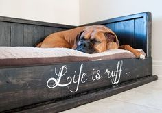 Pawsome Dog Bed Recovery Wood Handcrafted by GreenbeltRecovery Pallet Dog Beds, Diy Dog Bed, Wood Dog Bed, Diy Bed, Dog Furniture, Dog Rooms, Boxer Dogs, Boxers, Pet Beds