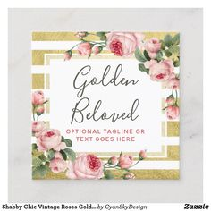 Shabby Chic Vintage Roses Gold Stripe Social Media Square Business Card Custom Designs Business for you to fully customize Vintage Rose Gold, Vintage Roses, Gold Business Card, Business Cards, Floral Style, Pink Style, Rustic Shabby Chic, Boutique Design, Gold Stripes