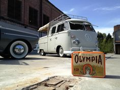 My friend  @Kim Cleveland Westall 's cars, how cool are these!! :)    Vintage VW's and Olympia Beer!
