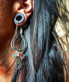 Magnetic Bloodwood Tunnels with Hippie Dangle Chains in Sizes 00g (10mm) to 1 Inch (25.5mm)