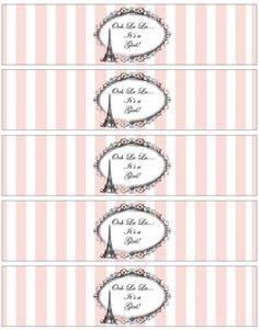 Paris French Eiffel Themed Baby Shower Water Bottle Label Paris Bridal Shower, Water Bottle Labels, Paris Theme, Printing Labels, Baby Shower Themes, Sticker Paper, Printables, French, Prints