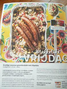 Kruidige couscous groente salade met chipolata