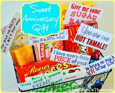 Sweet Anniversary Gift Idea with Printables | MomOnTimeout.com #giftidea