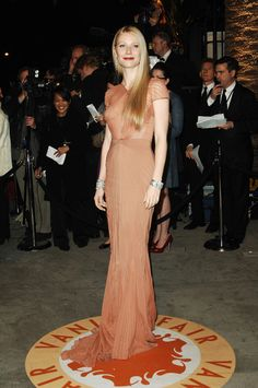 Gwyneth Paltrow, 2007: This dusty peach Zac Posen gown didn't only show off the star's enviable figure, but complete with diamond cuffs and chandelier earrings, made her look like a true GLAMOURzon!