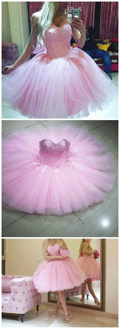 A-LINE HOMECOMING DRESS SWEETHEART TULLE SHORT PARTY DRESSES