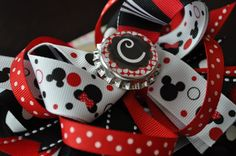 Minnie & Mickey Initial Bottle Cap Bow by threepeasboutique, $10.00