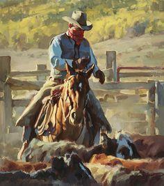 """Working the Catch Pens"" by Jason Rich (Cowboy Artist)"