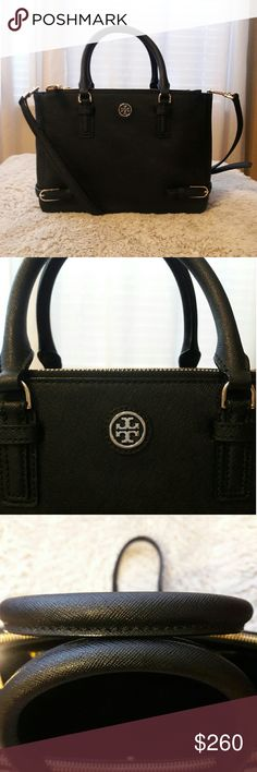 ef7a9704a1f3 Gorgeous Tory Burch small double zip tote in black leather. Can be hand  carry
