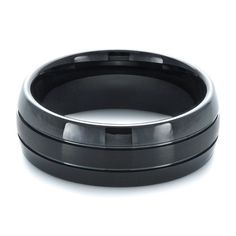 #1372 Tungsten jewelry is available at Joseph Jewelry.This tungsten carbide men's ring features a black finish with two channels that show a contrasting brushed and polish finish.