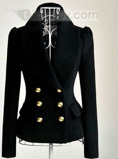 Amazing Wool Black Double Row New Arrival Blazer. DO WANT! Beautiful and screams class.