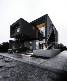 Pin de decor and architecture en exterior design en 2019 modern house desig Black House Exterior, Casas Containers, Luxury Homes Dream Houses, Minimalist House Design, Minimalist Style, Modern Architecture House, Computer Architecture, Minimal Architecture, Cultural Architecture