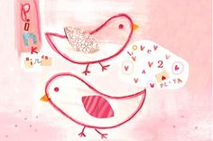Pink Birds Canvas Reproduction