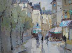 """Barbara Flowers, """"Paris Street II"""", Oil on Canvas, 30x40 - Anne Irwin Fine Art"""