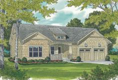 This lovely bungalow Craftsman home plan with cottage influences (House Plan has 1387 sq. of living space. The 1 story floor plan has 3 bedrooms. Bungalow Floor Plans, Craftsman Style House Plans, Ranch House Plans, Best House Plans, Small House Plans, House Floor Plans, Bungalow Homes, Modern Farmhouse Plans, House Design