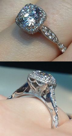 A diamond engagement ring by Tacori. Via Diamonds in the Library.