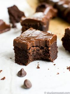 These brownies are special because they are my Grandma's Brownies. There are no other brownies out there quite like hers. These are the thickest, most delicious brownies you will ever eat with a fudge type frosting on top. #stuckonsweet #brownies #chocolate #recipe