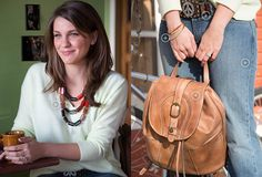 Patricia Nash tan backpack + Geranium necklace with a pop of color for summer! | Country Outfitter
