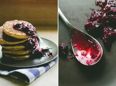 Cornmeal Pancakes + Blueberry-Rhubarb Compote - A Thought For Food