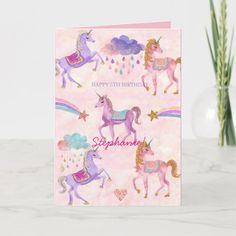 Shop Personalized Unicorn Birthday greeting card created by StarandDusk. Personalize it with photos & text or purchase as is!