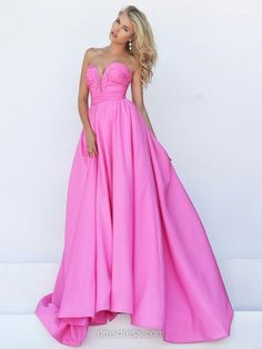 A-line V-neck Satin with Ruffles Court Train New Arrival Prom Dress #DMD020101286