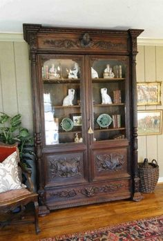 Antique French BOOKCASE Victorian Carved Oak Hunt Cabinet ~ Artist Music Oak OLD #FrenchFrenchCountry #Craftsmenoftheera