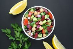 Easy, refreshing, protein-packed Mediterranean Bean Salad with a bright lemony dressing and fresh herbs. Awesome for picnics and take-along lunches too!! (vegan, gluten-free)
