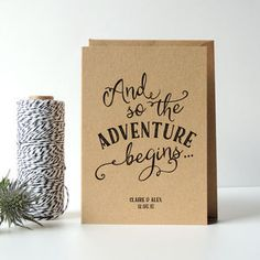 personalised 'adventure' wedding card by project pretty . quotes for the bride Personalised 'Adventure' Wedding Card Wedding Cards Handmade, Personalized Wedding, Wedding Gifts, Wedding Day, Card Wedding, Trendy Wedding, Wedding Engagement, Wedding Summer, Wedding Rustic
