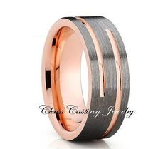 Double Grooved,Brushed Tungsten,Rose Gold,8mm