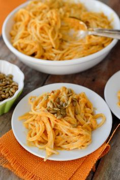 Pumpkin chipotle cream pasta sauce. I'm intrigued here by the concept, but I'd redo the recipe to be vegan (coconut oil instead of butter, coconut milk instead of cow-based milk products, etc.) and I may or may not preserve the gluten-free portions. --MRR
