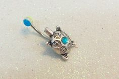 Bellybutton ring with cute turtle and blue and yellow UV ball 14 ga | YOUniqueDZigns - Jewelry on ArtFire