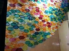 Constitutionally Modern DIY, tissue paper hexagons on glass