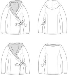 The Harbor Hoodie is not your average cardigan. It features a wrap front and inset pockets. Options include a collar option or a hood option. It's the perfect cozy wrap for the colder season.No serger required! No special tools needed. Comes in sizes xx-small, x-small, small, medium, large, xl, 2x, 3x.  This pattern is designed for knits. Suggested fabrics include: Sweatshirt fleece, fleece, french terry, Medium to heavy weightfabric with 25% stretch.