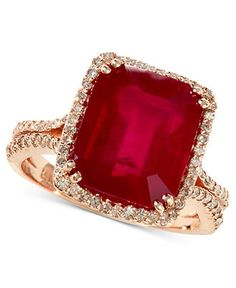 EFFY 14k Rose Gold Ring, Emerald-Cut Ruby (7-5/8 ct. t.w.) and Diamond (1/2 ct. t.w.) Ring - Rings - Jewelry & Watches - Macys