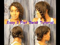 201-whoissugar EASY 3 flat twist hair tutorial!!